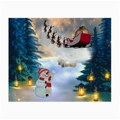 Christmas, Snowman With Santa Claus And Reindeer Small Glasses Cloth