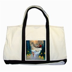 Christmas, Snowman With Santa Claus And Reindeer Two Tone Tote Bag