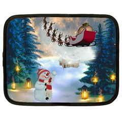 Christmas, Snowman With Santa Claus And Reindeer Netbook Case (xl)