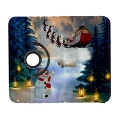 Christmas, Snowman With Santa Claus And Reindeer Galaxy S3 (flip/folio)