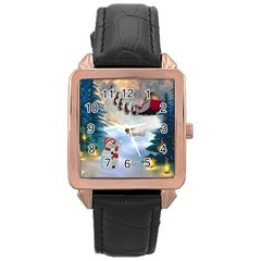 Christmas, Snowman With Santa Claus And Reindeer Rose Gold Leather Watch