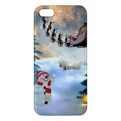 Christmas, Snowman With Santa Claus And Reindeer Apple Iphone 5 Premium Hardshell Case