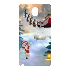 Christmas, Snowman With Santa Claus And Reindeer Samsung Galaxy Note 3 N9005 Hardshell Back Case