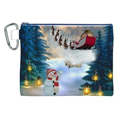 Christmas, Snowman With Santa Claus And Reindeer Canvas Cosmetic Bag (xxl)