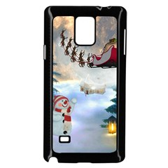 Christmas, Snowman With Santa Claus And Reindeer Samsung Galaxy Note 4 Case (black)
