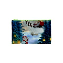 Christmas, Snowman With Santa Claus And Reindeer Cosmetic Bag (xs)