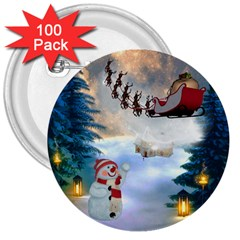 Christmas, Snowman With Santa Claus And Reindeer 3  Buttons (100 Pack)