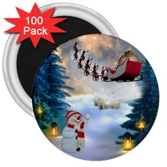Christmas, Snowman With Santa Claus And Reindeer 3  Magnets (100 Pack)