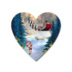 Christmas, Snowman With Santa Claus And Reindeer Heart Magnet