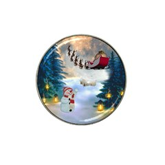 Christmas, Snowman With Santa Claus And Reindeer Hat Clip Ball Marker (4 Pack)