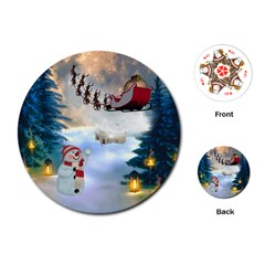Christmas, Snowman With Santa Claus And Reindeer Playing Cards (round)