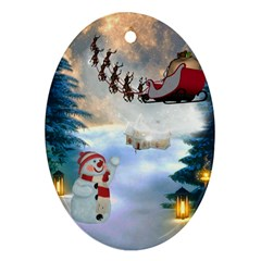 Christmas, Snowman With Santa Claus And Reindeer Oval Ornament (two Sides)