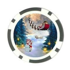 Christmas, Snowman With Santa Claus And Reindeer Poker Chip Card Guard