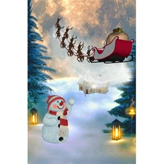 Christmas, Snowman With Santa Claus And Reindeer 5 5  X 8 5  Notebooks