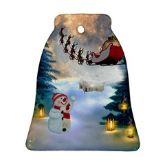 Christmas, Snowman With Santa Claus And Reindeer Ornament (bell)