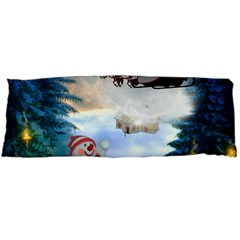 Christmas, Snowman With Santa Claus And Reindeer Body Pillow Case Dakimakura (two Sides)