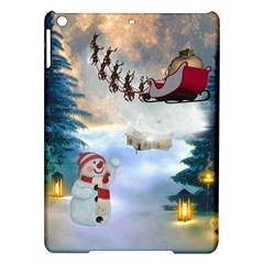 Christmas, Snowman With Santa Claus And Reindeer Ipad Air Hardshell Cases