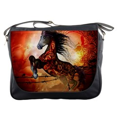 Awesome Creepy Running Horse With Skulls Messenger Bags