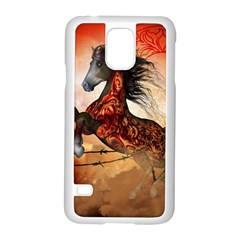 Awesome Creepy Running Horse With Skulls Samsung Galaxy S5 Case (white)