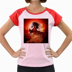 Awesome Creepy Running Horse With Skulls Women s Cap Sleeve T Shirt
