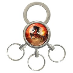 Awesome Creepy Running Horse With Skulls 3 Ring Key Chains