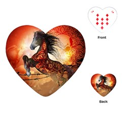 Awesome Creepy Running Horse With Skulls Playing Cards (heart)