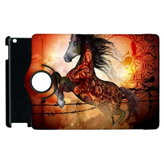 Awesome Creepy Running Horse With Skulls Apple Ipad 2 Flip 360 Case