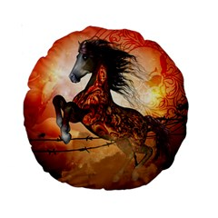 Awesome Creepy Running Horse With Skulls Standard 15  Premium Round Cushions