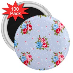 Cute Shabby Chic Floral Pattern 3  Magnets (100 Pack)