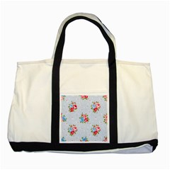 Cute Shabby Chic Floral Pattern Two Tone Tote Bag