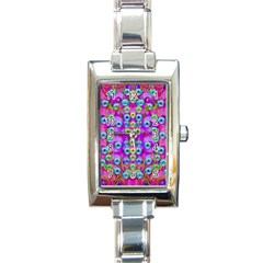 Festive Metal And Gold In Pop Art Rectangle Italian Charm Watch