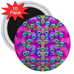 Festive Metal And Gold In Pop Art 3  Magnets (10 Pack)