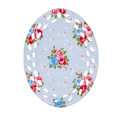 Cute Shabby Chic Floral Pattern Ornament (oval Filigree)