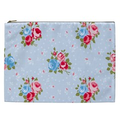 Cute Shabby Chic Floral Pattern Cosmetic Bag (xxl)