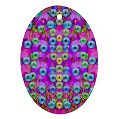Festive Metal And Gold In Pop Art Oval Ornament (two Sides)