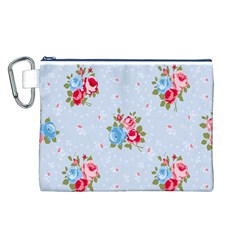 Cute Shabby Chic Floral Pattern Canvas Cosmetic Bag (l)