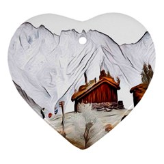 French Coffee Style Abstract Art Heart Ornament (two Sides)
