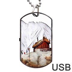 French Coffee Style Abstract Art Dog Tag Usb Flash (one Side)