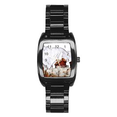 French Coffee Style Abstract Art Stainless Steel Barrel Watch