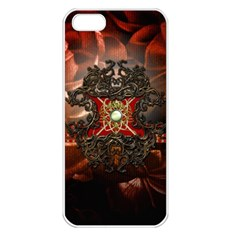 Wonderful Floral Design With Diamond Apple Iphone 5 Seamless Case (white)