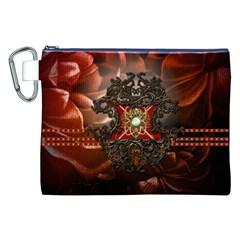 Wonderful Floral Design With Diamond Canvas Cosmetic Bag (xxl)