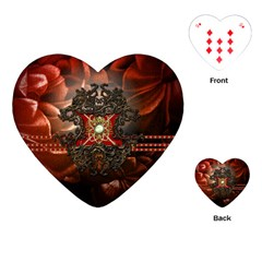Wonderful Floral Design With Diamond Playing Cards (heart)