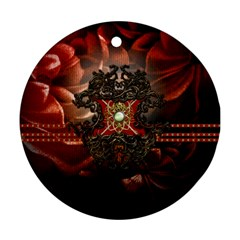 Wonderful Floral Design With Diamond Round Ornament (two Sides)