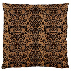 Damask2 Black Marble & Light Maple Wood (r) Large Cushion Case (two Sides)