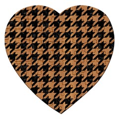 Houndstooth1 Black Marble & Light Maple Wood Jigsaw Puzzle (heart)