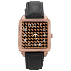 Houndstooth1 Black Marble & Light Maple Wood Rose Gold Leather Watch