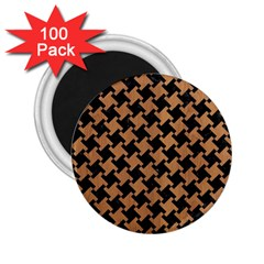 Houndstooth2 Black Marble & Light Maple Wood 2 25  Magnets (100 Pack)