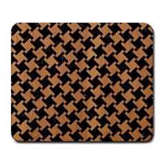 Houndstooth2 Black Marble & Light Maple Wood Large Mousepads