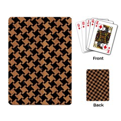Houndstooth2 Black Marble & Light Maple Wood Playing Card