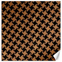 Houndstooth2 Black Marble & Light Maple Wood Canvas 20  X 20